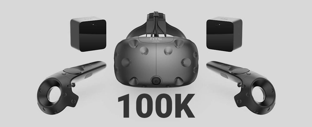 HTC Vive Headset Sales at about 100,000 units